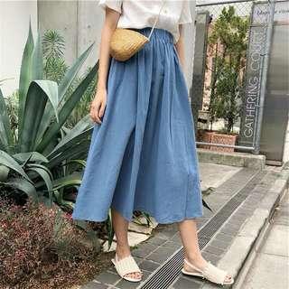 素色鬆緊腰設計簡約長裙