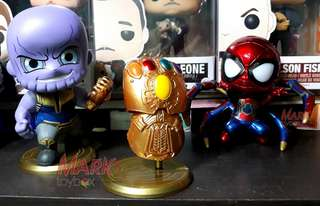 Avengers: Infinity War - Cosbaby Bobble-Heads: Iron Spider-Man; Infinity Gauntlet; Thanos