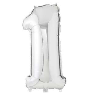 Number 1 (one) silver foil balloon 40 inches
