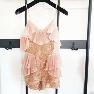 Alice Mccall Ruffle Rose Gold Playsuit