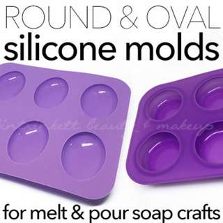 Round n Oval Bar Soap Silicone Molds | DIY Melt n Pour Soap-making Crafts | Multiple Cavity Mold
