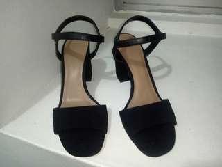 Black Charles and Keith Block Chunky Minimalist Strap Heels