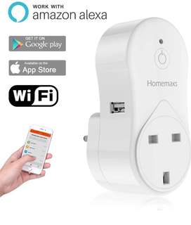 (55)Smart Plug WiFi Plug by Homemaxs - Mini Outlet Works with Amazon Alexa - Control Your Devices from Anywhere Via Free APP - UL Listed with Timing Function - Occupies Only One Socket