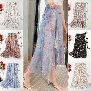 💫Floral Ruffled Midi Skirt