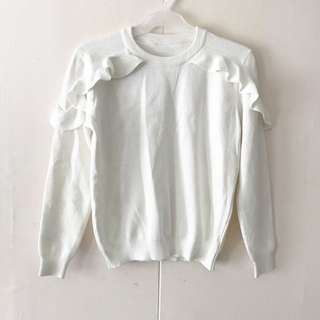 White Ruffled Pullover / Top