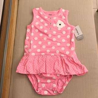 全新Carter's粉紅點點小裙擺包屁衣24m