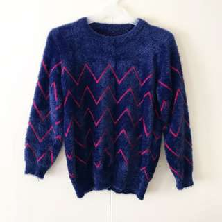 Blue Fuzzy Pullover / Top