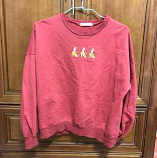 韓國帶回* 桔紅色香蕉圖案衛衣