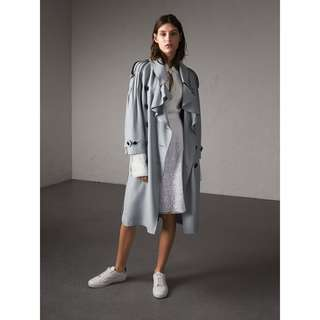 Burberry Ruffle Detail Silk Trench Coat In Pale Slate Blue