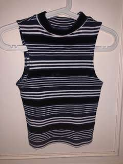 Stripes turtle neck top / top garis garis fit body