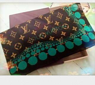 LV x Yayoi Kusama bandana cotton square scarf green dots monogram