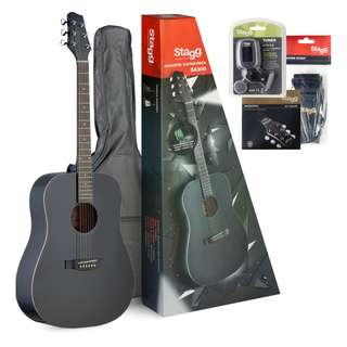 STAGG ACOUSTIC DREADNOUGHT GUITAR PACKAGE + ACCESSORIES (BLACK)
