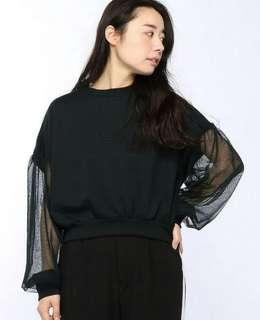 Browny Transparant Sleeve Black Top