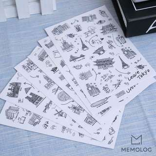 6pcs Doodles of Building and University Sticker Pack