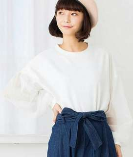 Browny Transparant Sleeve White Top