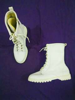 All white docmart boots