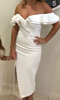 Sheike off shoulder white dress. Size 10