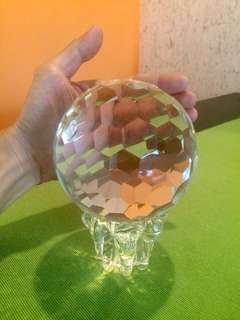 100mm Multi Faceted Crystal Glass Sphere Ball w/ Lotus Stand High PbO Lead Feng Shui Cure
