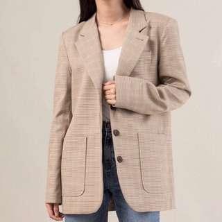 Leme studio 淺米千鳥格西裝外套