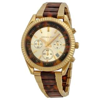 CLARKSON CHRONOGRAPH GOLD AND TORTOISE SHELL DIAL LADIES WATCH MK5963