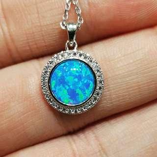 Blue Lapiz Pendant with Silver Necklace