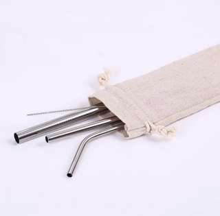 Stainless steel straw (with pouch) set