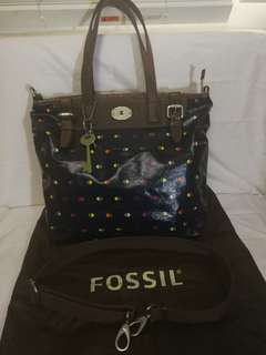 Original FOSSIL leather document bag with leather trimmings, handle and shoulder strap