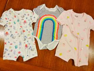 Cotton on baby girl rompers 3 pieces