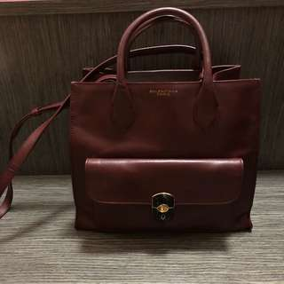 Balenciaga padlock bag burgundy small