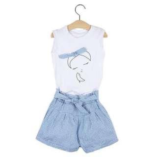 2PCS CUTE CLOTHING SET ROUND COLLAR T-SHIRT & SHORT SKIRT FOR GIRLS