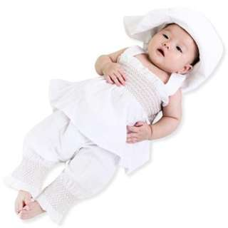3PCS CUTE RUFFLED SOLID COLOR SUSPENDER SKIRT WITH PANTS HAT FOR BABY GIRLS