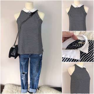 Striped sleeveless w/ collar