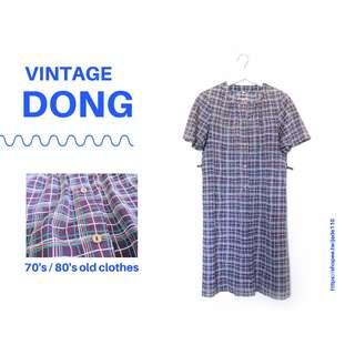 🚚 | 咚 咚 Vintage |日本古著-呼喚奇蹟的岩紫光短袖洋裝