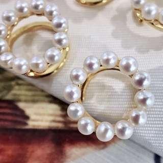 新款銀飾個性耳夾 3-4mm淡水珠  有無耳洞都可以戴 怎麼戴你說的算