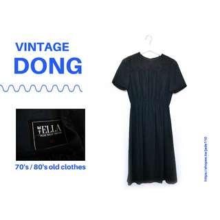 🚚 | 咚 咚 Vintage |法式古著-黑蜥蜴之歌短袖洋裝