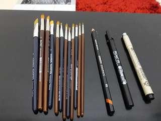 Kuas watetcolor + drawing pen set