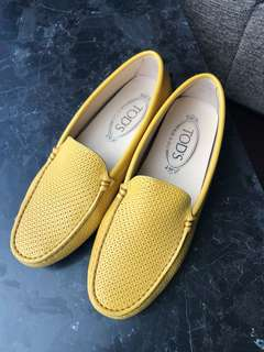 PRELOVED Tods 豆豆鞋 Yellow Leather Shoe Shoes Loafers Flats EU 35.5