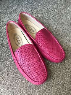 PRELOVED Tods 豆豆皮鞋 桃紅 Pink Leather Shoe Shoes Loafers Flats EU 35.5