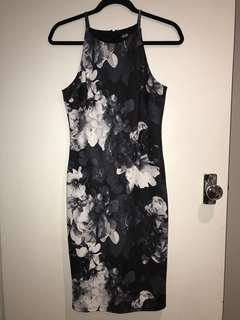 DOTTI NAVY FLORAL HALTER NECK DRESS