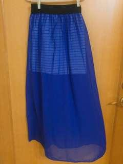 寶藍色雪紡透膚長裙