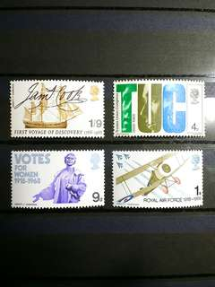 British Royal Mail Mint Stamps: British Anniversaries, 29th May 1968, Set of 4 in fine mint condition (Great Britain GB)