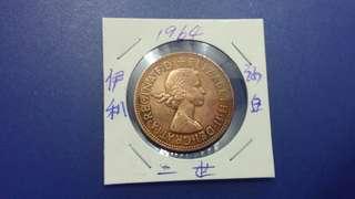 英國1964年伊利沙白二世一便士銅幣