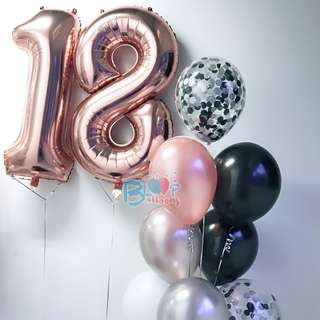 "40"" Number Foil Rose Gold Balloons (Helium)"