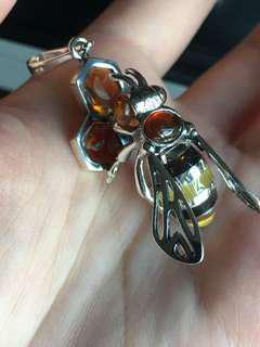 925銀吊墜 蜜蜂琥珀吊墜 天然琥珀 天然水晶