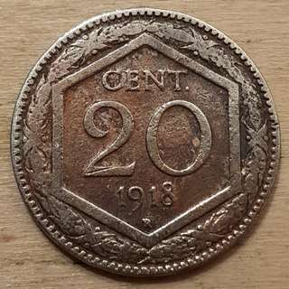 1918 Kingdom of Italy 20 Centesimi Coin