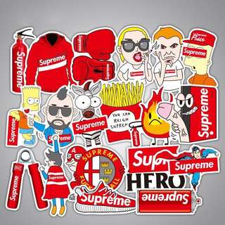RED Supreme Simpsons Laptop Luggage Stickers