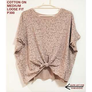 Cotton On Pink Knot Top with Unicorn Print
