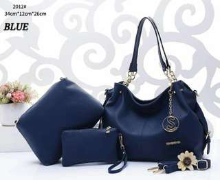 Sembonia Handbags 3 in 1 Navy Blue Color