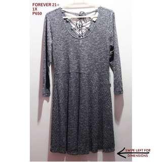 Forever 21+ Gray Stretchable Skater Dress