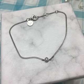 純銀 碎鑽石 手鍊